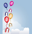 gift boxes with balloons flying in the clouds vector image