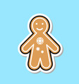 ginger bread man icon cute christmas cookie vector image
