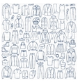 Hand drawn doodle set with man and woman clothes vector image vector image