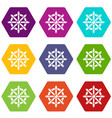 handwheel icons set 9 vector image