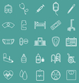 Hospital line icons on green background vector image vector image