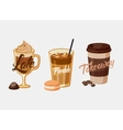 Iced coffee latte or mocha and freddo cup sleeve vector image vector image