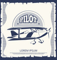 label design - vintage poster airplane vector image vector image