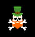 leprechaun skull redbearded and green hat vector image vector image