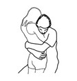 man hugs his transparent lover vector image vector image