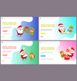 merry christmas greeting card santa claus and elf vector image