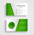 Modern light green business card template vector image vector image