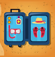 open baggage with sun glasses mask suncreen hat vector image