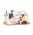 parents helping to pack school bag for kid mother vector image vector image