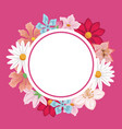 pink background with decorative circular border vector image