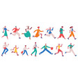 running hurrying people jogging adult characters vector image