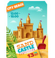 sandy castle competition realistic poster vector image