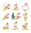 santa claus on surfboard with gifts in backpack vector image vector image