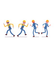 set of male and female worker running rear front vector image vector image
