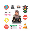 set of road symbols and driver arab businessman vector image vector image