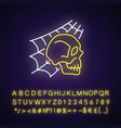 skull with spider web neon light icon vector image