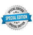 special edition 3d silver badge with blue ribbon vector image vector image