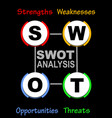 swot analysis diagram with multicolored elements vector image