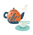 tea time flat hospitality warming comfort tea vector image