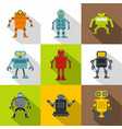 technology robot icon set flat style vector image