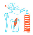 tooth fairy with toothbrush and toothpaste outline vector image