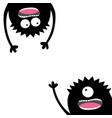 two screaming monster set happy halloween card vector image vector image