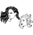 two sketches of female face vector image vector image