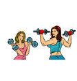 two women with dumbbells isolate on a white vector image vector image