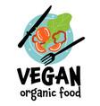vegan organic food plate with vegetables vector image