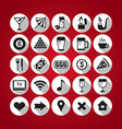 white on red icons set bar vector image
