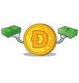 with money dodgecoin character cartoon style vector image