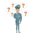 young hispanic policeman thinking vector image vector image
