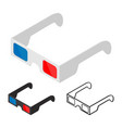 3d glasses of flat style isometric vector image