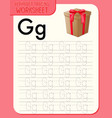 Alphabet tracing worksheet with letter g and g