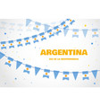 argentina flags bunting on white background vector image vector image