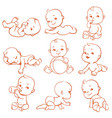 baby in diaper set vector image vector image
