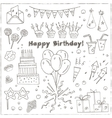 Birthday party doodles elements background vector image vector image