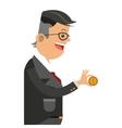 businessman holding money icon vector image