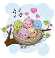 cartoon birds in a nest on a branch vector image vector image
