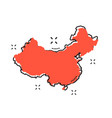 cartoon china map icon in comic style china sign vector image vector image