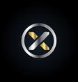 circle silver gold x logo symbol vector image vector image