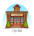 city hall government building in thin line vector image