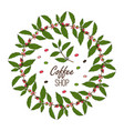coffee shop design with branch wreath and berries vector image vector image
