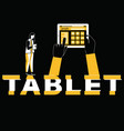 creative word concept tablet and woman doing vector image