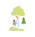 cute boy walking and feeding squirrel in summer vector image vector image