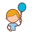 cute boy with balloon air character vector image vector image