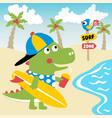 cute dinosaurs best surfer in coast vector image vector image