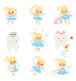 cute little tooth fairy and healthy bateeth set vector image vector image