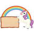 cute unicorn with blank banner sign on white vector image