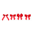 decorative red bow collection set 3d realistic vector image vector image